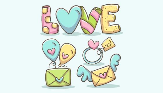 可爱的爱情浪漫元素矢量素材(AI/EPS/PNG)