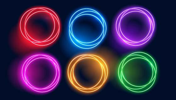 多彩炫丽的霓虹灯光圈矢量素材(EPS)