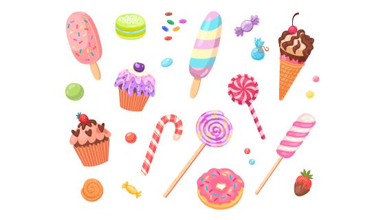 各种各样的甜点甜品矢量素材(EPS/PNG)