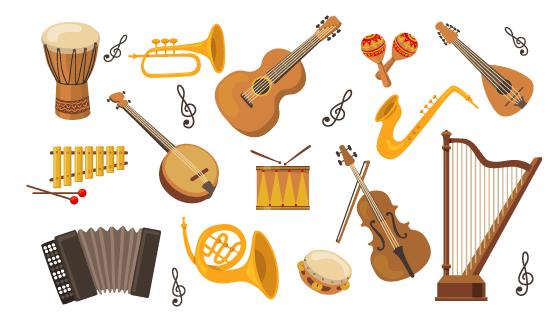 各种各样的乐器矢量素材(EPS/PNG)