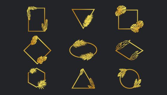 不同形状的金色边框矢量素材(EPS/PNG)