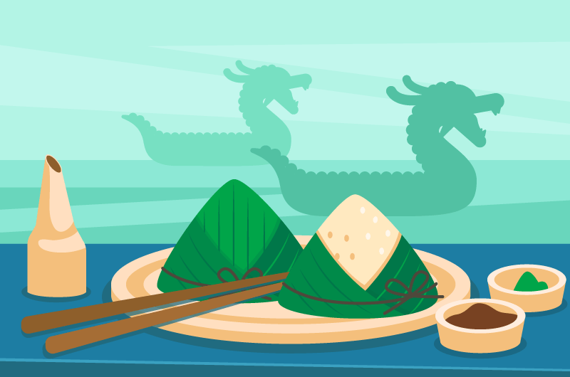 粽子和龙舟端午节矢量素材(AI/EPS)