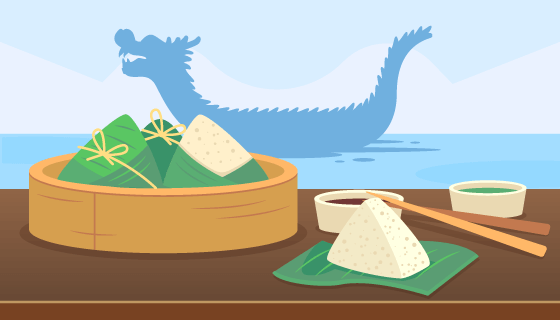 粽子和龙舟端午节背景矢量素材(AI/EPS)