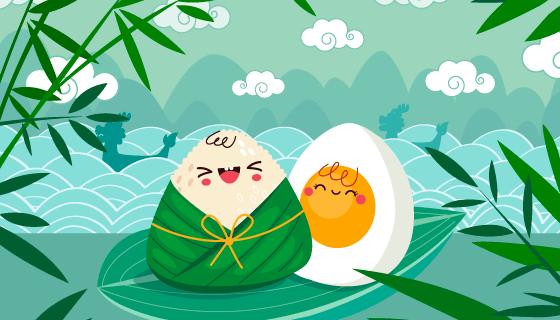 可爱的粽子和咸鸭蛋端午节背景矢量素材(AI/EPS)