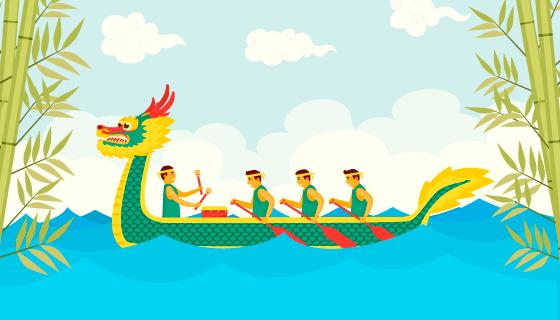 赛龙舟端午节背景/壁纸矢量素材(AI/EPS)