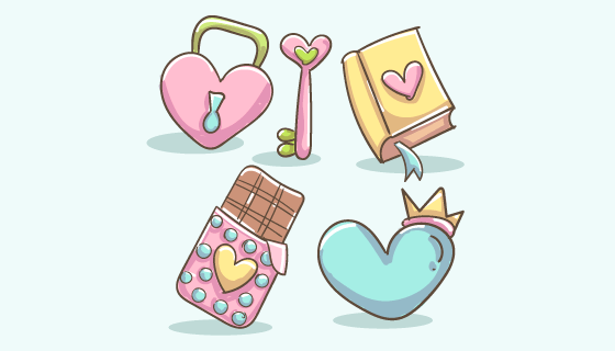 可爱的爱情元素矢量素材(AI/EPS/PNG)