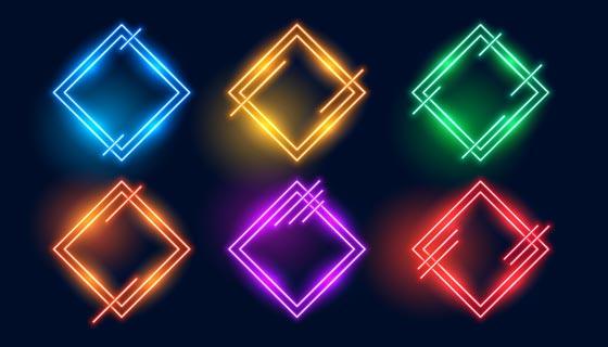 多彩菱形霓虹灯边框矢量素材(EPS)