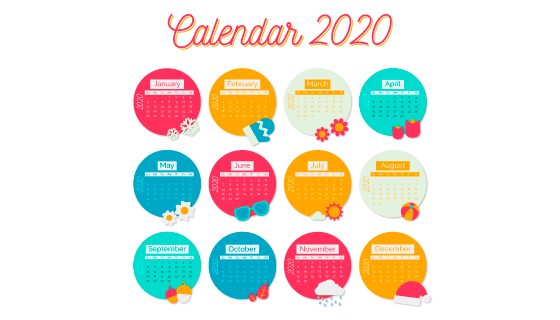 多彩圆圈设计2020年日历矢量素材(AI/EPS)