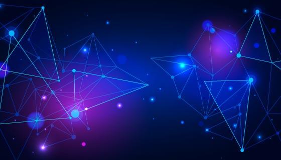 蓝色三角和圆点设计科技背景矢量素材(AI/EPS)
