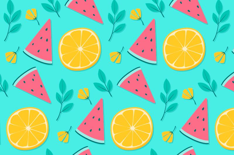 西瓜柠檬图案夏天背景矢量素材(AI/EPS)