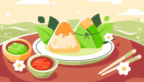 美味的粽子端午节背景/壁纸矢量素材(AI/EPS)