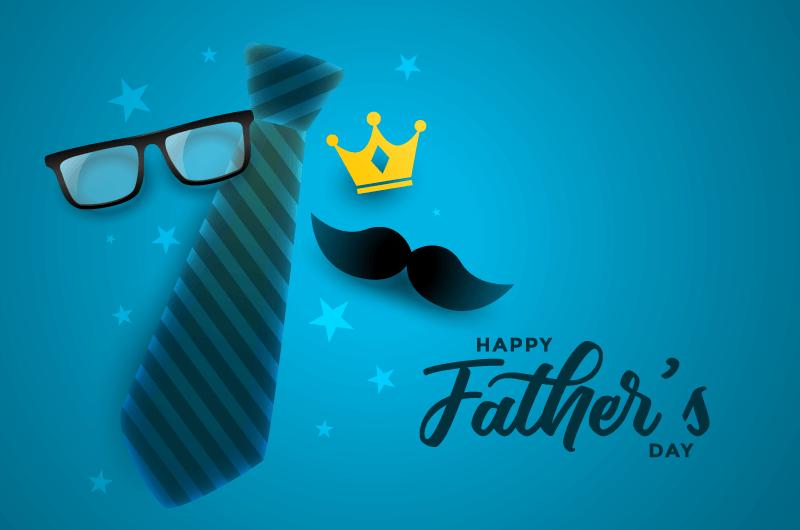 蓝色设计父亲节快乐贺卡矢量素材(EPS)