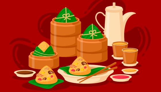 扁平风格美味粽子矢量素材(AI/EPS)