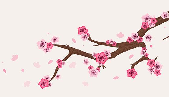 樱花树枝花瓣矢量素材(EPS/AI/PNG)