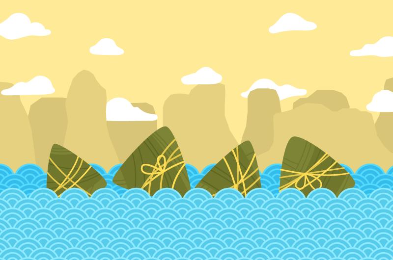 浪花上的粽子端午节背景/壁纸矢量素材(AI/EPS)