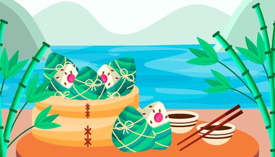 粽子竹子端午节背景矢量素材(AI/EPS)