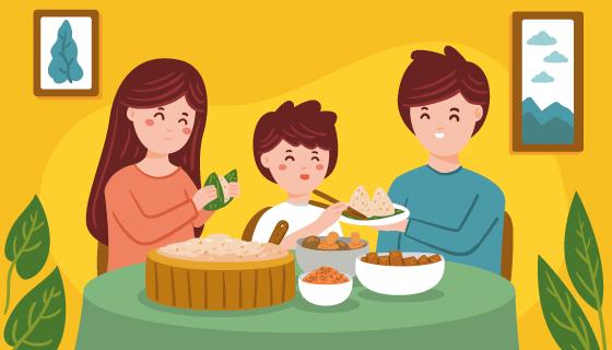 开心包粽子的一家人矢量素材(AI/EPS)
