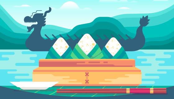 龙舟和粽子端午节背景矢量素材(AI/EPS)