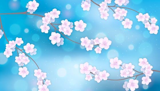 蓝色樱花背景矢量素材(EPS/AI)