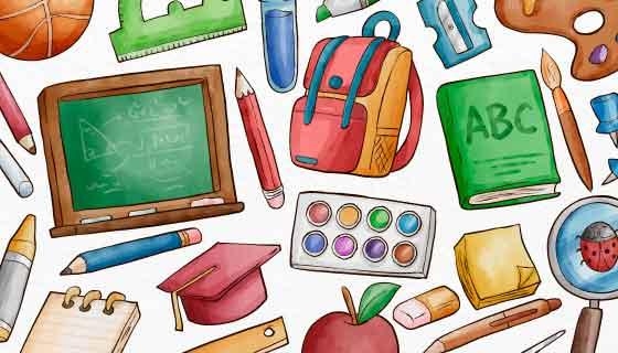 各种学习工具设计开学返校矢量素材(AI/EPS)