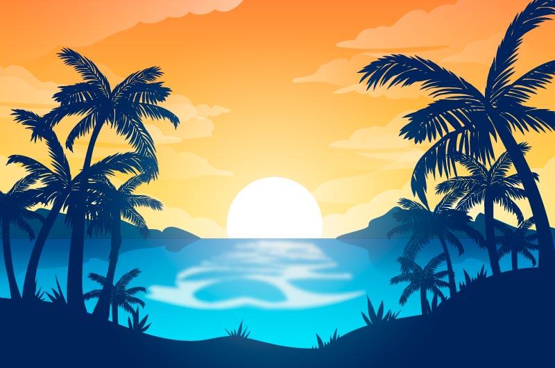 逼真的夏天景色背景矢量素材(AI/EPS)