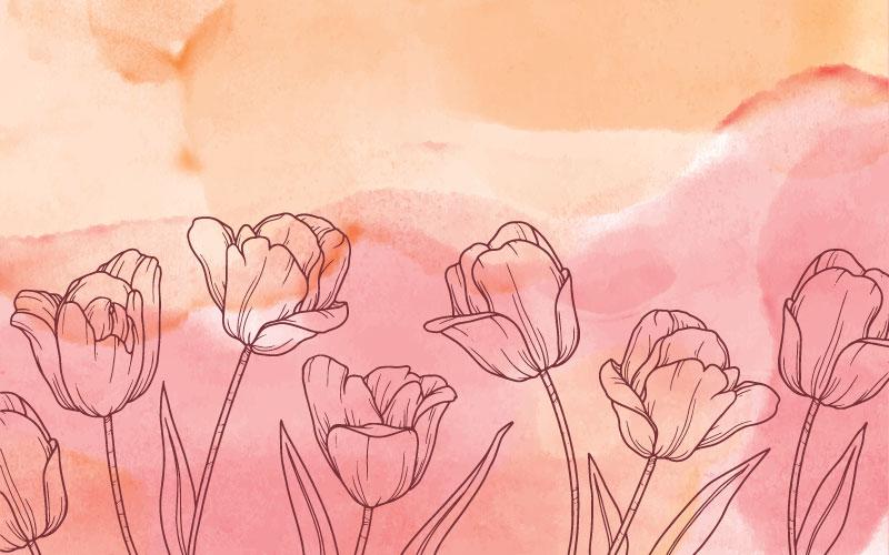 水彩风格花卉背景矢量素材(EPS)