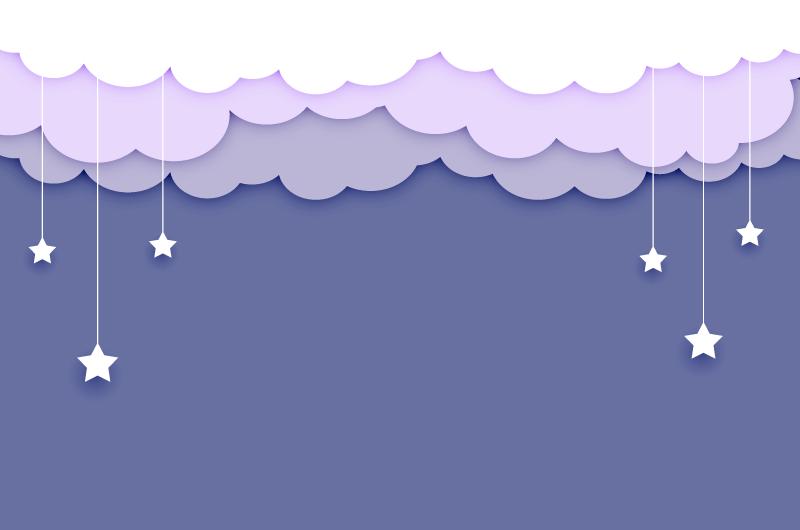 扁平风格云朵和星星吊坠背景矢量素材(EPS)