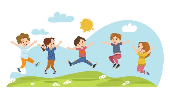 草地上跳跃的孩子们矢量素材(EPS)