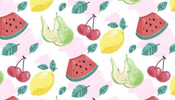 水彩风格水果图案背景矢量素材(AI/EPS)