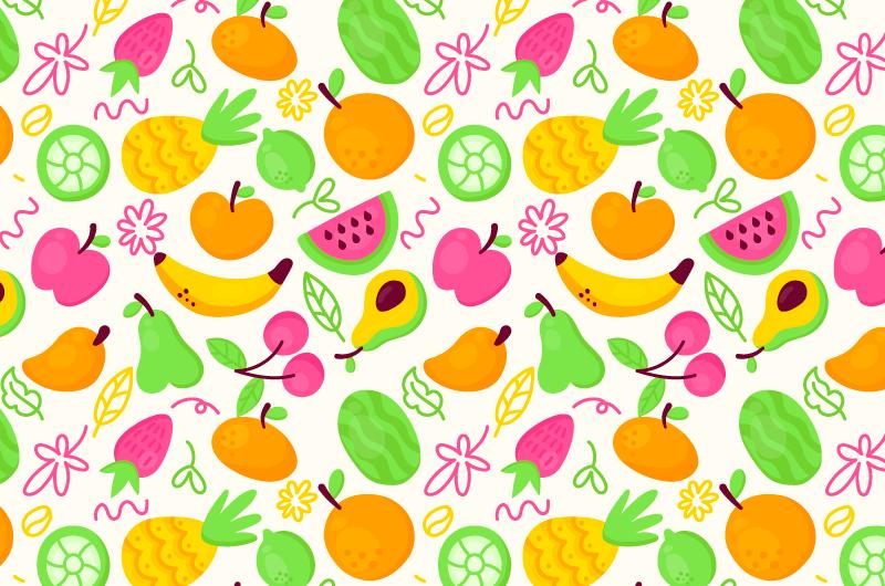 扁平风格水果图案背景矢量素材(AI/EPS/免扣PNG)