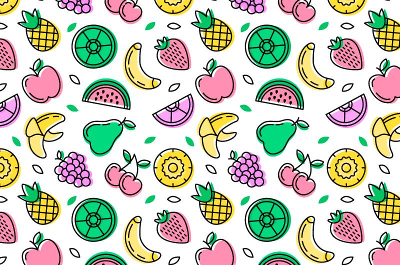 手绘风格水果图案背景矢量素材(AI/EPS/免扣PNG)