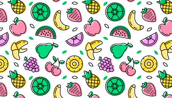 手绘风格水果图案背景矢量素材(AI/EPS/PNG)