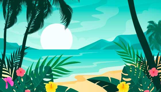 夏季海滩景色矢量素材(AI/EPS)