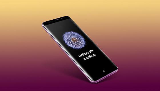 漂浮的三星Galaxy S9 Plus模型(PSD)