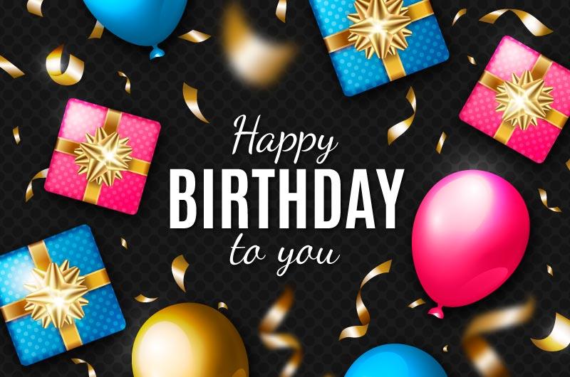 气球和礼物设计生日快乐背景矢量素材(AI/EPS)