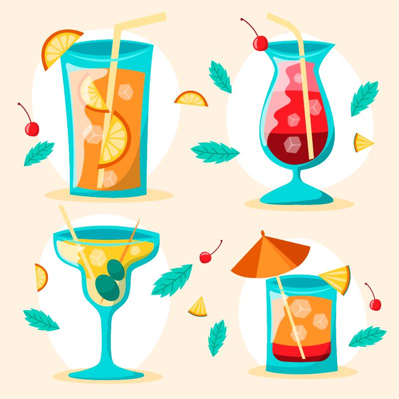 四种美味的鸡尾酒矢量素材(AI/EPS)