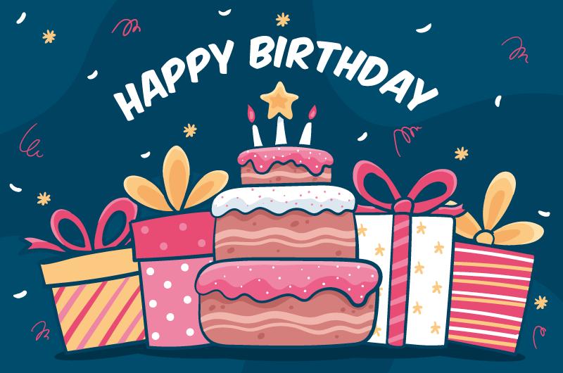 手绘蛋糕和礼物生日快乐背景矢量素材(AI/EPS)