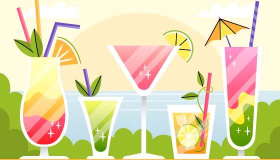 五种美味的鸡尾酒矢量素材(AI/EPS)