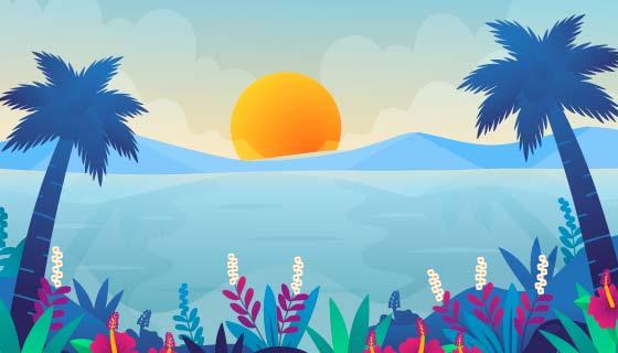 多彩的夏天景色矢量素材(AI/EPS)