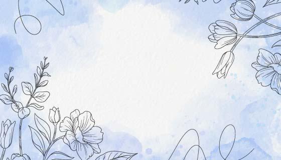 手绘花朵水彩背景矢量素材(AI/EPS)