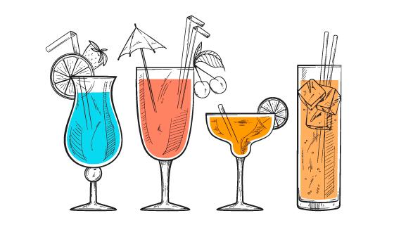 手绘风格美味鸡尾酒矢量素材(AI/EPS/PNG)