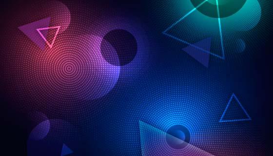 抽象霓虹灯半色调背景矢量素材(AI/EPS)