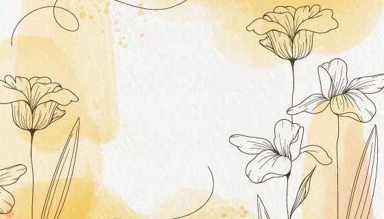 手绘花朵浅黄色水彩背景矢量素材(AI/EPS)