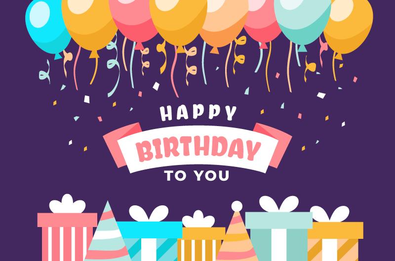 扁平风格气球礼物生日快乐背景矢量素材(AI/EPS)