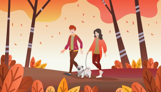 秋天里散步遛狗的人们矢量素材(AI/EPS)
