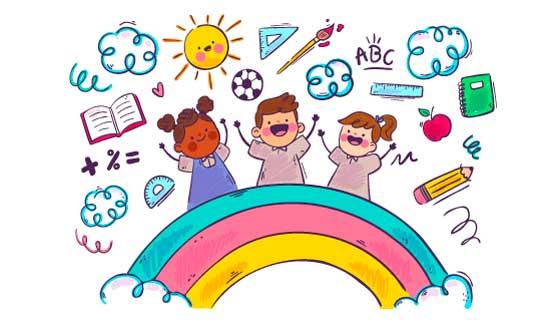 手绘风格学习工具和孩子们矢量素材(AI/EPS/PNG)