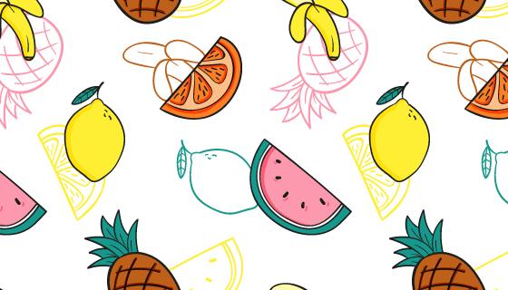 手绘风格水果图案背景矢量素材(AI/EPS)