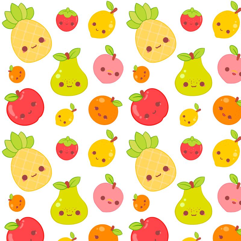 可爱的水果图案背景矢量素材(AI/EPS/免扣PNG)