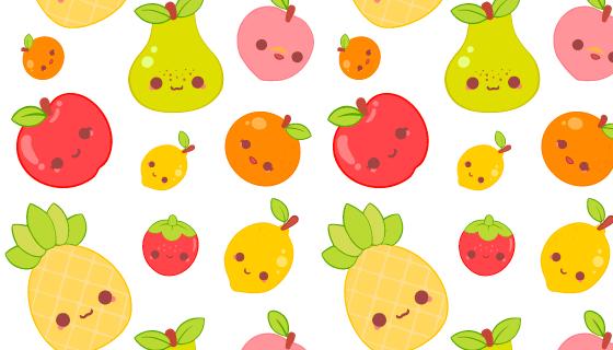 可爱的水果图案背景矢量素材(AI/EPS/PNG)