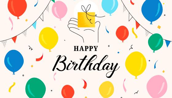 多彩的气球生日快乐背景矢量素材(AI/EPS)